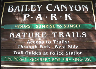 bailey canyon trail sign