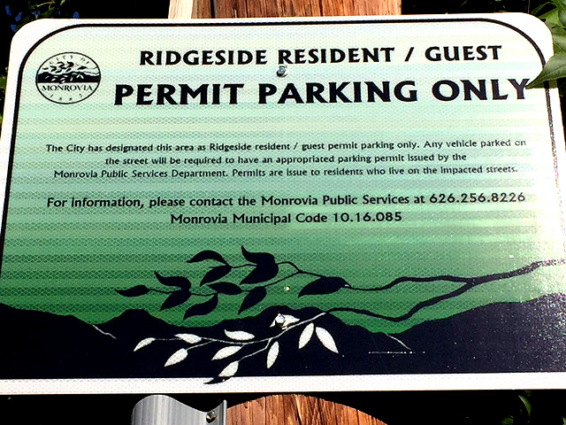 Ridgeside Parking Sign